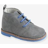 Lace-Up Ankle Boots in Leather for Baby Boys grey medium solid