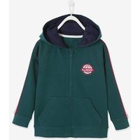 Zipped Jacket with Hood and Stripes on the Sleeves for Boys green dark solid with design
