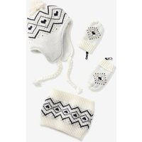 3-Piece Jacquard Set for Baby Girls: Beanie, Mittens and Snood white light all over printed