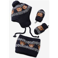 Set of 3 Items, Little Bear, in Jacquard: Beanie + Mittens + Snood blue dark all over printed