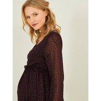 Printed Dress in Crepe for Maternity black/print