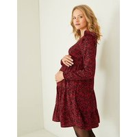 Dress with Ruffle for Maternity dark red/print