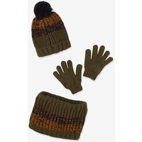 Knitter Beanie + Snood + Mittens or Gloves for Boys, with Polar Fleece Lining blue dark two color/multicol