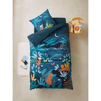 Childrens Duvet Cover + Pillowcase Set, JUNGLE NIGHT blue dark solid with design