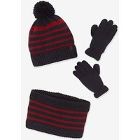 Beanie + Snood + Mittens or Gloves with Stripes  and Polar Fleece Lining for Boys blue dark two color/multicol