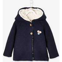 Hooded Jacket with Sherpa Lining, for Baby Girls blue dark solid with design