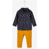 Occasion Wear Outfit, Shirt + Trousers for Baby Boys blue dark all over printed
