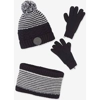 Knitted Beanie + Snood + Mittens or Gloves for Boys, with Polar Fleece Lining blue dark all over printed