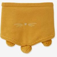 Cat Snood with Pompoms, for Girls yellow medium solid wth design