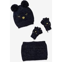 Cat Beanie + Snood + Mittens, Polar Fleece Lining, for Girls blue dark solid with design