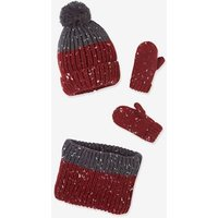 Knitted Beanie + Snood + Mittens or Gloves for Boys, with Polar Fleece Lining blue dark solid