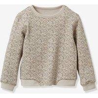 Flower Sweatshirt for Girls, by CYRILLUS flower bed-print