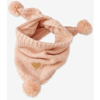 Triangular Heart Snood with Pompoms, for Girls pink medium solid with desig