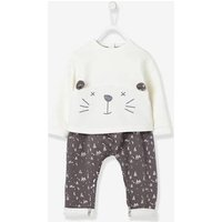 Baby Fleece Sweatshirt and Harem-Style Trousers Outfit Set pink light solid with design