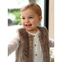 Faux Fur Waistcoat with Lining for Baby Girls brown light solid