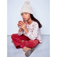 Cable Knit Beanie + Snood + Gloves, Lined in Polar Fleece, for Girls blue dark solid