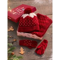 Jacquard Beanie + Snood + Gloves/Mittens for Girls red dark solid with design