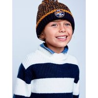 Marl Beanie + Snood + Mittens or Gloves with Polar Fleece Lining for Boys blue medium two color/multicol