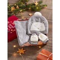 Beanie + Crossover Snood + Mittens for Girls, Bear grey light mixed color