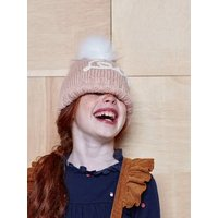 Love Beanie with Pompom, for Girls pink dark solid with design.