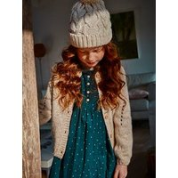 Speckled Openwork Knit Cardigan, for Girls beige light mixed color