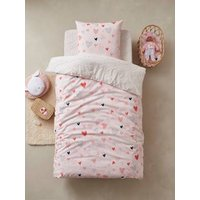 Children's Duvet Cover + Pillowcase Set, Happy Hearts Theme light pink/print.