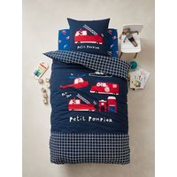 Duvet Cover + Pillowcase Set for Children, 'Petit Pompier' Theme dark blue.