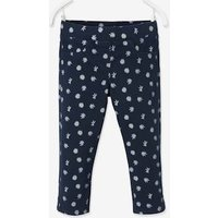 Cropped Treggings-type Trousers with Floral Print, for Girls blue dark all over printed