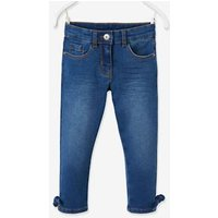 Cropped Denim Trousers with Fancy Bow, for Girls blue light wasched