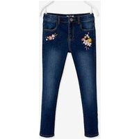 NARROW Hip, MorphologiK Embroidered Slim Leg Waterless Jeans, for Girls dark blue