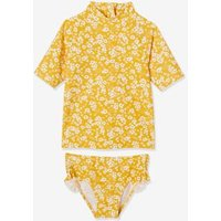 UV Protection Top + Briefs Set for Girls mustard/print.