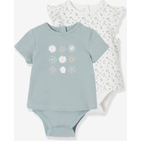 Pack of 2 T-Shirt Bodysuits, for Babies green/multi.