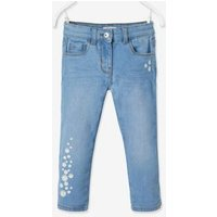 Cropped Denim Trousers with Embroidered Flowers, for Girls blue medium wasched.