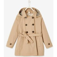 2-in-1 Hooded Trench Coat for Girls beige