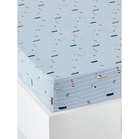 Fitted Sheet for Children, DOCKERS Theme light blue/print.