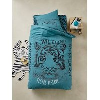 Children's Duvet Cover + Pillowcase Set, TIGER Theme blue.
