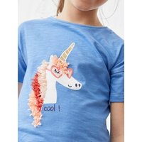 T-Shirt with Iridescent Details in Relief for Girls blue.