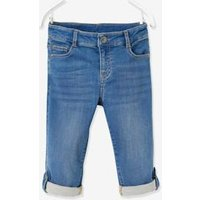 Cropped Trousers for Boys, in Denim-Effect Fleece blue dark wasched