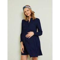 Plain Shirt Dress, Maternity and Nursing Special dark blue