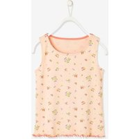Sleeveless Top in Rib Knit with Flowers, for Girls pink light all over printed.