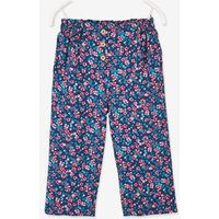 Cropped Loose-Fitting Trousers with Flower Print, for Girls dark blue/print