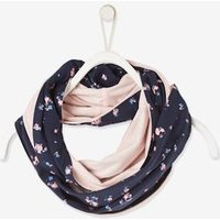 Reversible Snood, Plain and Small Flowers, for Girls blue dark all over printed