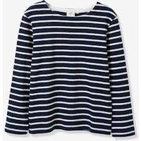 Boy's sailor-stripe T-shirt with long sleeves dark blue stripes