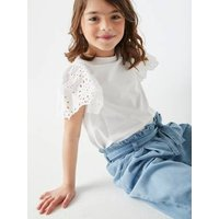 Wide, Cropped Paperbag-Type Trousers in Lightweight Denim, for Girls light denim blue