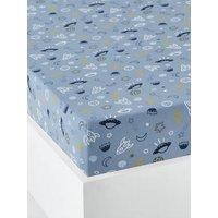 Children's Fitted Sheet, Cosmos Theme blue/print.
