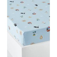 Fitted Sheet for Children, P for Pirate Theme blue/print.