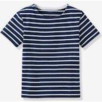 Boy's organic cotton sailor-stripe top dark blue.