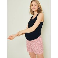 Pack of 2 Shorts in Fluid Fabric, for Maternity light brown/print