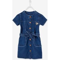 Short Sleeve Denim Dress, Frayed Details, for Girls bleached denim