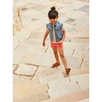 Denim Waistcoat with Embroidered Patches for Girls light denim blue